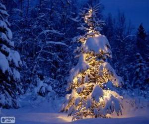 Puzle Árvore de Natal nevado