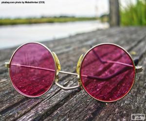Puzle Óculos de sol rosa