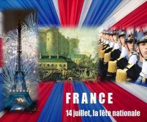 Puzle 14 de julho, o feriado nacional francês em comemoração ao tomada da Bastilha em 14 de julho de 1789