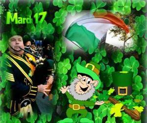 Puzle 17 de março. Dia de São Patrício é a celebração da cultura irlandesa. Trevos usados como um símbolo da Irlanda