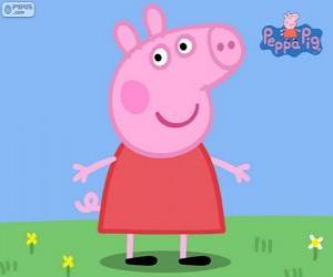 aca34b142 Quebra-cabeça de Peppa Pig com um vestido vermelho para imprimir