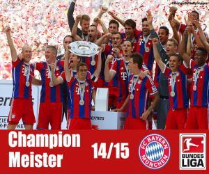 Quebra-cabeça de Bayern de Munique campeão 14-15 para imprimir