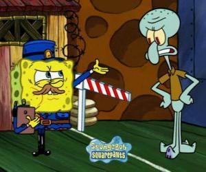 Puzle Bob Esponja vestido como um policial faz uma passagem de Lula Molusco Tentáculos