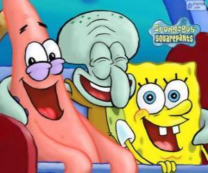 Puzle Bob Esponja ou SpongeBob e seus amigos Patrick Estrela e Lula Molusco Tentáculos