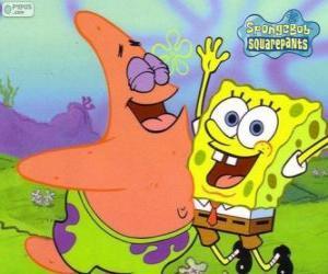 Puzle Bob Esponja e Patrick muito feliz