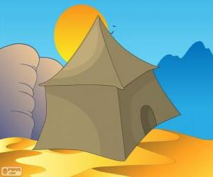Puzle A barraca ou tenda dos beduínos no deserto, Khayma