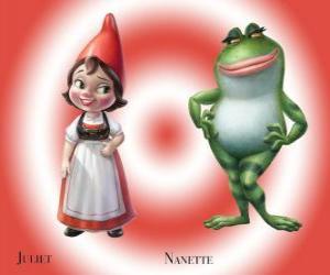 Puzle A bela Julieta, a filha do líder dos anões de jardim vermelho, com o melhor amigo de seu jardim sapo Nanette