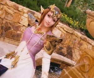 Puzle A bela princesa Zelda com uma rosa na mão