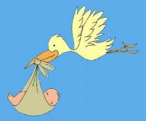 Puzle A cegonha carregando um bebê. A cegonha e do bebê