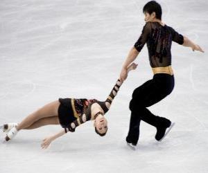 Puzle A competição em dupla é uma das disciplinas da patinação artística no gelo