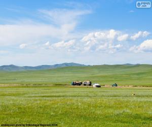 Puzle A estepe da Mongólia