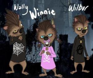 Puzle A família de lobisomem. Os Filhotes: Wally, Winnie e Willbur