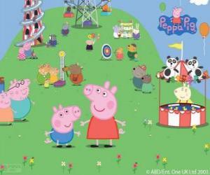 Puzle A família de Peppa Pig no parque de atracções