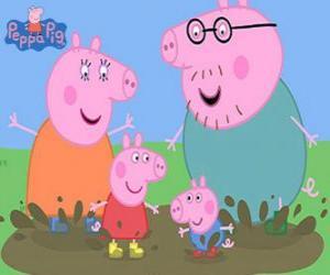 Puzle A família Porco brincando com as poças