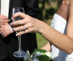 Puzle A noiva com uma taça de champanhe