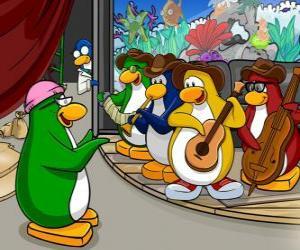 Puzle A Penguin Band, Billy G na bateria e flauta, Petey K no piano e no acordeão, Bob no baixo e guitarra Franky.