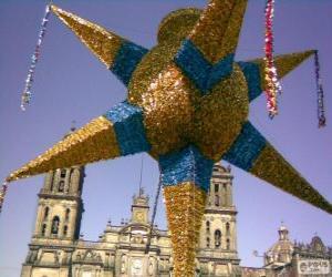 Puzle A pinhata tradicional no México no Natal, uma estrela de nove pontas, a estrela de Belém