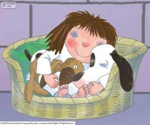 Puzle A princesinha a dormir com o cão Fico e seu ursinho de pelúcia