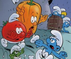 Puzle A Smurf é perseguido por um tomate e pimenta