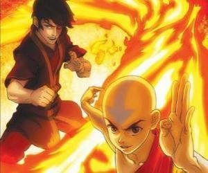 Puzle Aang e Zuko luta