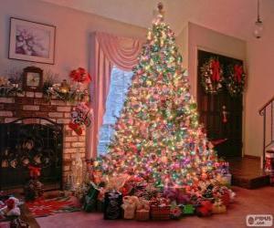 Puzle Abeto de Natal decorado