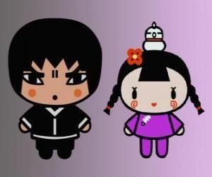 Puzle Abyo Ching, a amiga de Pucca com a sua galinha Gwon e o amigo de Garu
