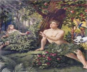 Puzle Adão e Eva no paraíso