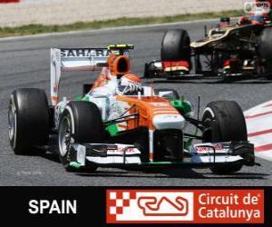 Puzle Adrian Sutil - Force India - Circuit de Catalunya, Barcelona, 2013