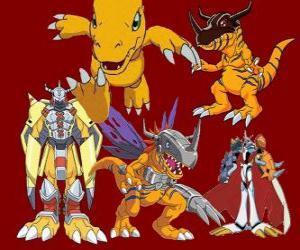 Puzle Agumon é um dos principais digimon. Agumon é um Digimon muito corajosa e divertida