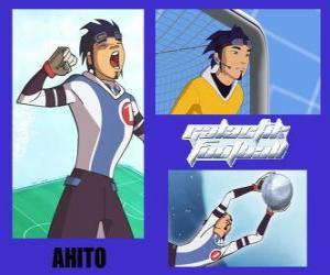 Puzle Ahito é o guarda-redes da equipa de futebol galáctico Snow Kids com número 1