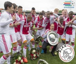 Puzle Ajax Amsterdã, campeão da liga de futebol holandesa Eredivisie 2013-2014