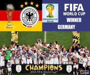 Puzle Alemanha, o campeão do mundo. Copa do mundo de futebol Brasil 2014