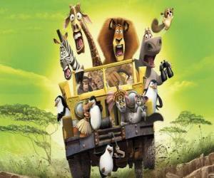 Puzle Alex o Leão dirigindo um jipe com seus amigos Gloria, Melman, Marty e outros protagonistas das aventuras
