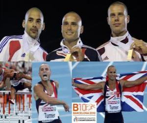 Puzle Andy Turner campeão 110m com barreiras, Garfield Darien e Daniel Kiss (2 e 3) do Campeonato Europeu de Atletismo de Barcelona 2010