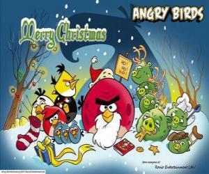 Puzle Angry Birds desejando-lhe um Feliz Natal