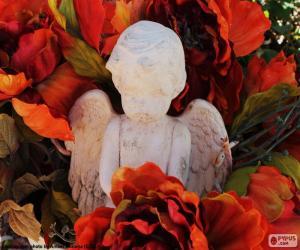 Puzle Anjo entre flores