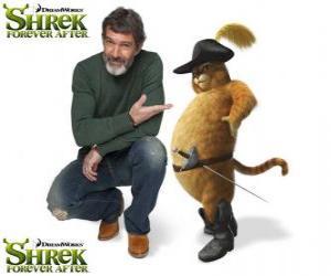 Puzle Antonio Banderas prevê a voz do o Gato de Botas no mais recente filme Shrek para Sempre