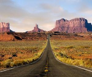 Puzle área deserta com estrada