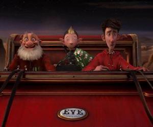 Puzle Arthur Christmas, Grand-Santa e Bryony sobre o velho trenó pronto para distribuir o último presente