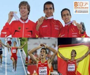 Puzle Arturo Casado campeão 1500 m, Carsten Schlangen e Manuel Olmedo (2 e 3) do Campeonato Europeu de Atletismo de Barcelona 2010