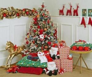 Puzle Árvore de Natal bem decorados e presentes