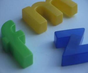 Puzle As letras minúsculas f, m y z