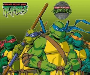 Puzle As quatro Tartarugas Ninja: Leonardo, Michelangelo, Donatello e Rafael. Taratugas Ninja ou TMNT