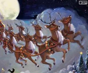 Puzle As renas mágicas puxando o trenó