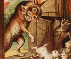 Puzle As sete crianças pequenas têm medo e correr e se esconder quando vêem o lobo na porta