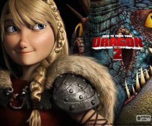 Puzle Astrid com seu dragão alado Stormfly, Como treinar o seu dragão 2