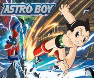 Puzle Astro voando graças aos seus superpoderes, as pernas transformadas em jatos de foguete