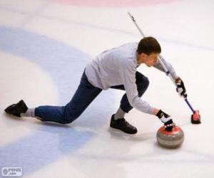Puzle Atleta prática curling