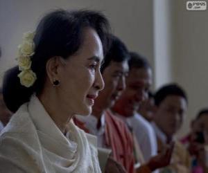 Puzle Aung San Suu Kyi política de oposição birmanesa