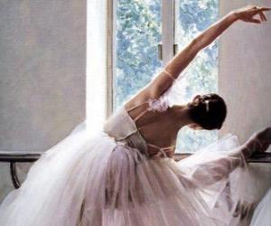 Puzle Ballerina praticando com a barra